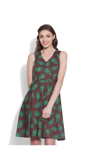 Designer Women's Brown Printed Size Pure Me Very 32 Dress Cotton S qAEnT7xS
