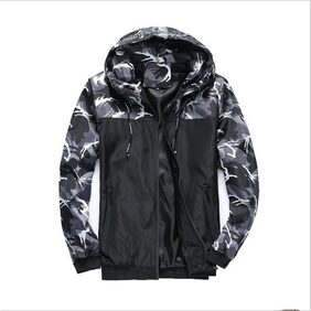 Vgowater Men Camouflage Hoodies Outwear-Black