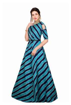 Viha Blue Bangalore Silk Anarkali Stitched Gown