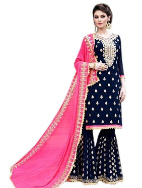 Viha Georgette Floral Dress Material - Blue