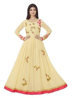 Viha Net Floral Dress Material - Yellow