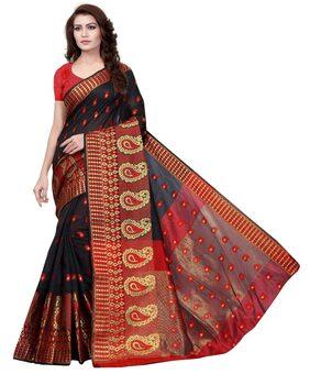Viha Jacquard Black And Red Woman Saree