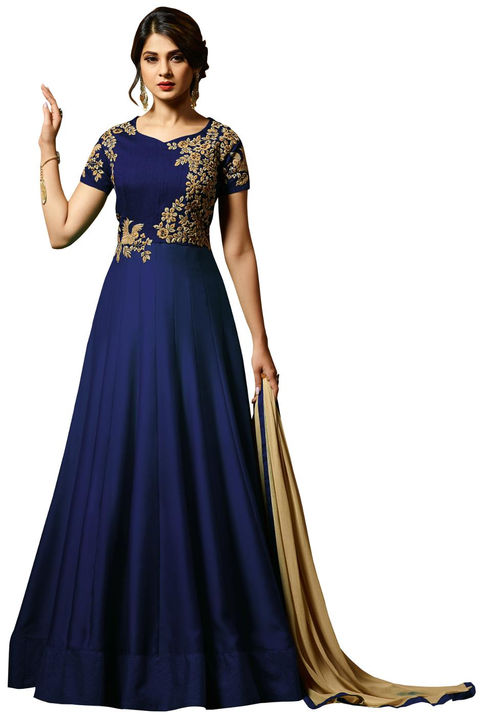 4ef347589377c Buy Viha Silk Solid Dress Material - Blue Online at Low Prices in ...