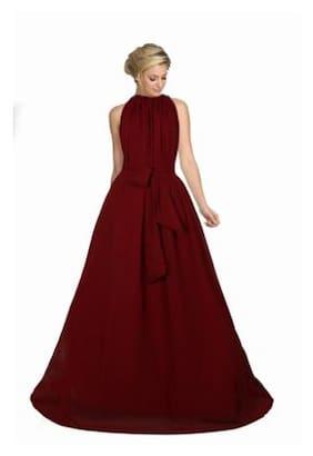 Viha Maroon Georgette Anarkali Stitched Gown