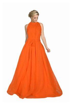 Viha Georgette Solid Gown - Orange