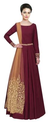Viha Tafeta Silk Embroidery Semi-stitched Anarkali Salwar Suit
