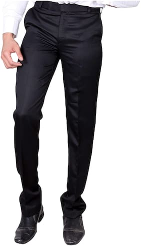 Villain Men's Formal Trousers - Slim Fit Formal Pants - Black