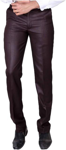 VILLAIN Men Textured Slim Fit Formal Trouser - Maroon