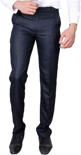 Villain Men's Formal Trousers - Slim Fit Formal Pants - Blue
