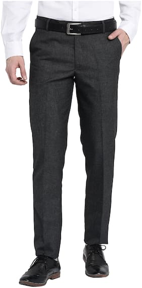 Villain Mens Formal Trousers - Slim Fit Formal Pants - Dark Grey