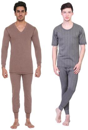 Vimal Blended Multicolor Thermal Top-pyjama Set For Men