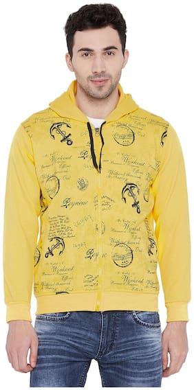 Vimal Cotton Yellow Printed Fullsleeves Hoodie Zipper Sweatshirt For Men