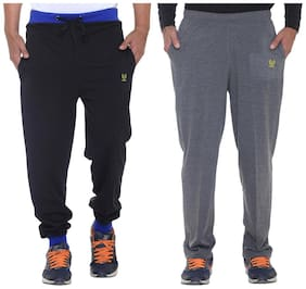 Regular Fit Cotton Track Pants Pack Of 2