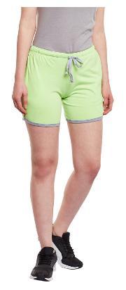 Vimal Green Cotton Shorts For Women