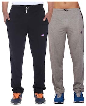 Vimal Grey And Black Men's Cotton Trackpants ( Pack Of 2)