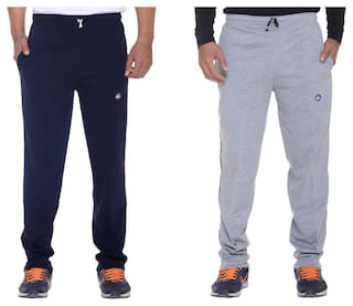 Vimal Grey and Blue Cotton Pack Of 2 TrackPants