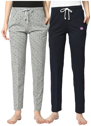 VIMAL JONNEY Cotton Blend Printed Grey & Blue Color Track Pants For Women (Pack Of 2)