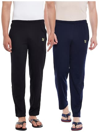 Vimal Jonney Solid Men's Black;Navy Blue Track Pants(Pack Of 2)