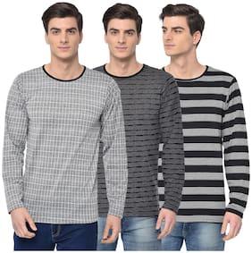 Men Round Neck Checked T-Shirt