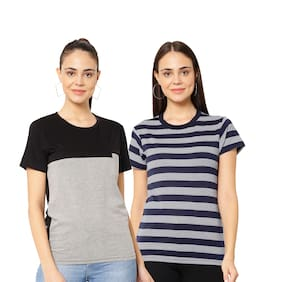 Women Half Sleeves T Shirt ,Pack Of 2