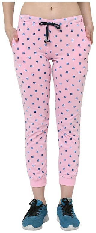 Vimal Jonney Cotton Blended Regular Fit Pink Track Pant For Women's