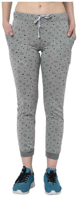 VIMAL JONNEY Cotton Blend Printed Grey Joggers  For Women