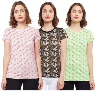VIMAL JONNEY Women Multi Regular fit Round neck Cotton T shirt