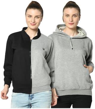 VIMAL JONNEY Women Solid Hoodie - Black & Grey