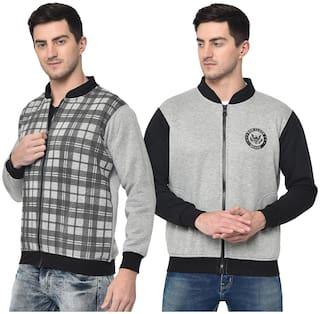 VIMAL JONNEY Cotton Blend Checked Grey & Black Color Sweatshirt For Men (Pack Of 2)