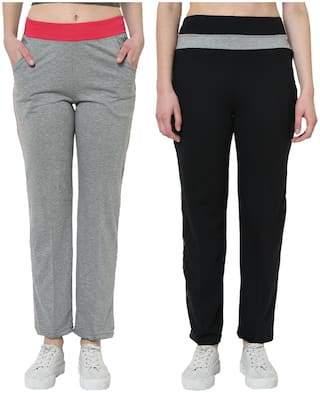 VIMAL JONNEY Women Cotton Blend Solid Grey & Black Track Pants