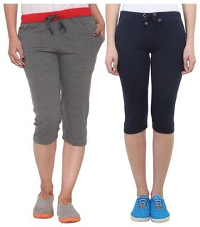 Vimal Multicolor Cotton Capris For Women(pack Of 2)