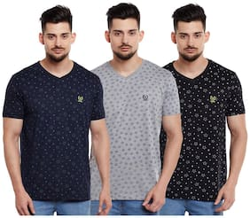 Men V Neck Printed T-Shirt Pack Of 3