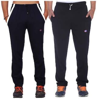 Vimal Navy Blue And Black Men's Cotton Trackpants ( Pack Of 2)