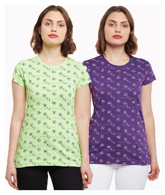 Vimal Jonney Purple And Green Printed Casual Tops For Women Pack Of 2