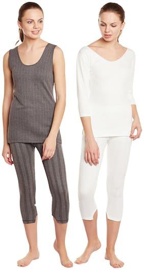 Vimal Winter Premium Black And White Thermal Upper & Bottom Set For Women