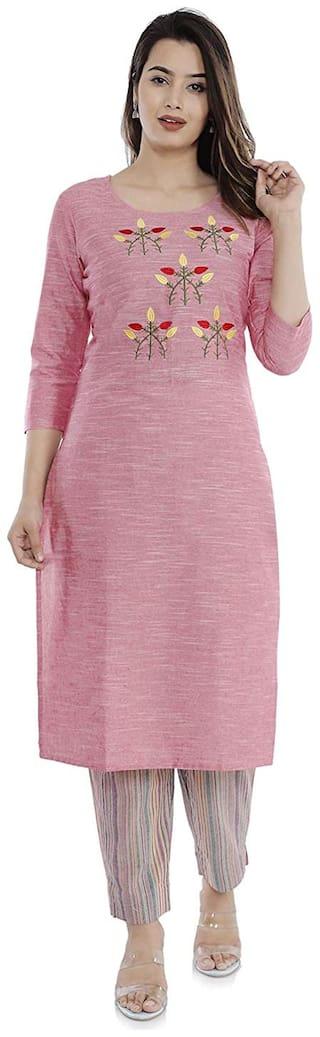 Vimoo Cotton kurti Pant Set (Pink)