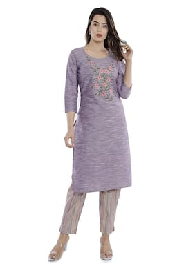 Vimoo Womens Cotton kurti Pant Set (Purple)