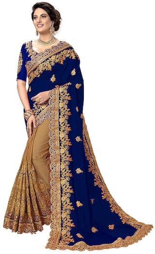 Vinayak Textile Women Navy Blue Silk Embroidered Saree