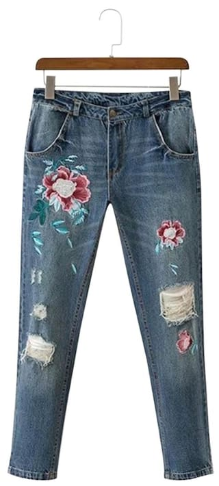 Women Vintage Pocket Ripped Embroidery Jeans Floral nYBq8P1