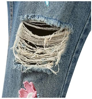 Jeans Vintage Women Pocket Floral Ripped Embroidery FXqSUwX