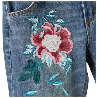 Women Ripped Pocket Jeans Embroidery Floral Vintage Eqw7OIy