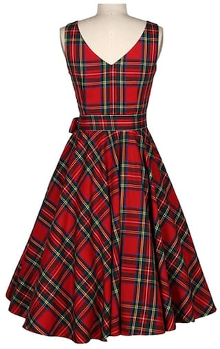 Belted Plaid A Jewel Sleeveless line Neck Vintage Dress Women qvfO4wP