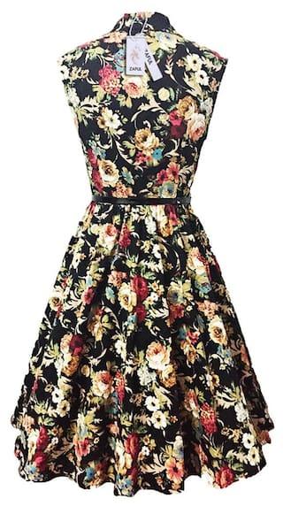 Dress A Print Belt Floral Lapel Vintage line Women BIwx0ZxqF