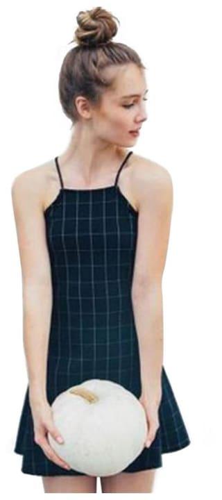 Vintage Spaghetti Strap Plaid Print A-line Mini Dress for Women # International Bazaar