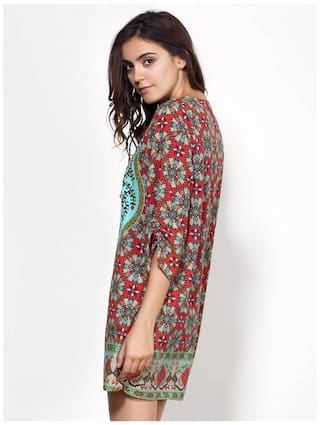 V Print 3 Full 4 Neck Vintage Women For Sleeve Style Dress qgxR4xOf
