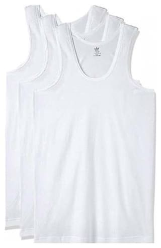 VIP 3 Sleeveless Round Neck Men Vest - White