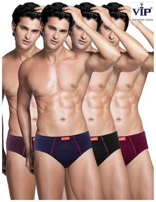 VIP Solid Briefs - Multi ,Pack Of 4