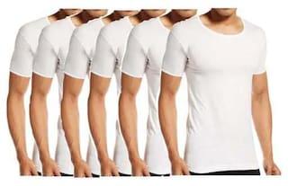 VIP 6 Half Sleeves Round Neck Men Vest - White