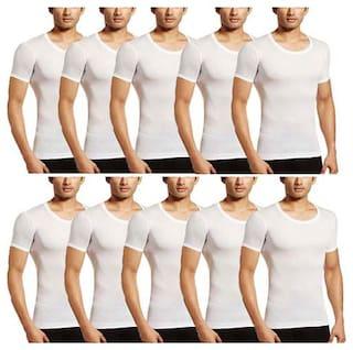 VIP 10 Half Sleeves Round Neck Men Vest - White
