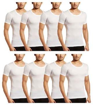 VIP Pack of 8 Half Sleeves Round Neck Men Vest - White